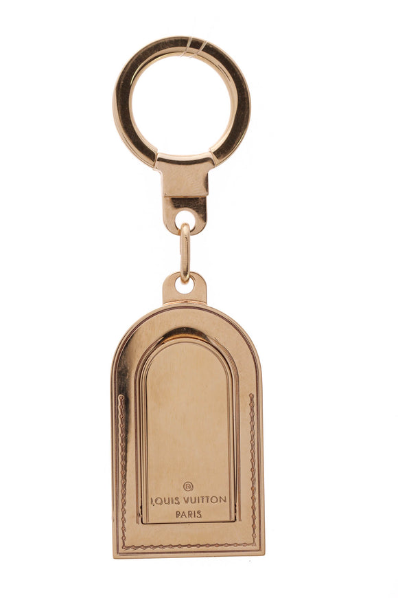 Louis Vuitton Porte Cles Address Key Holder Bag Charm Gold