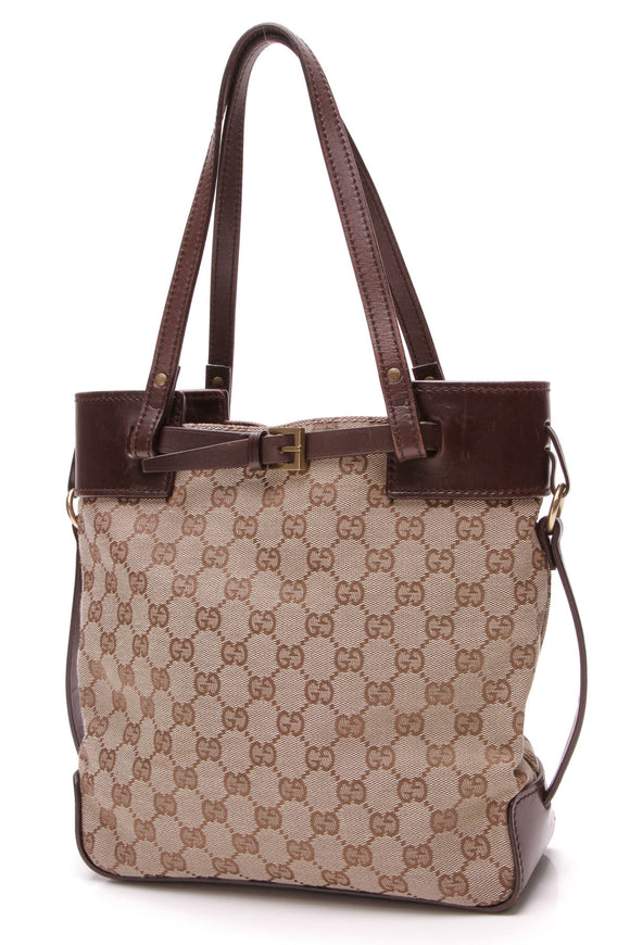Gucci Buckle Tote Bag Signature Canvas Brown