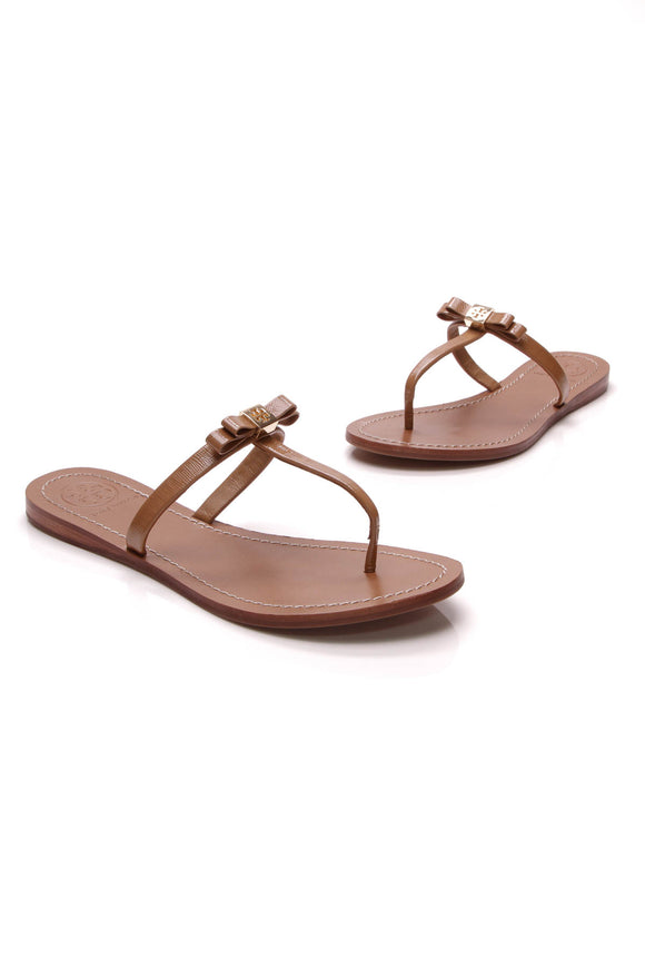 Tory Burch Leighanne Bow Thong Sandals Tan Size 7.5