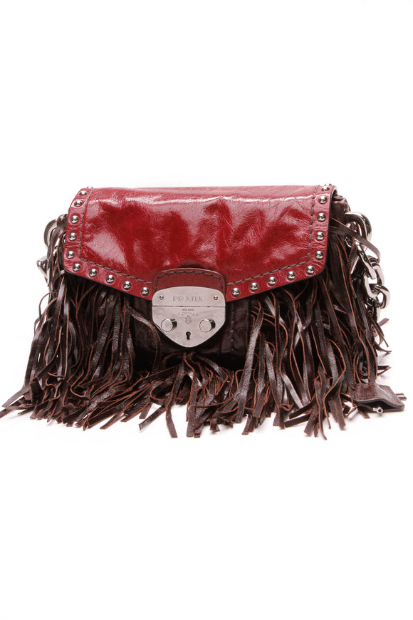 Prada Vitello Shine Fringe Bag Brown Red