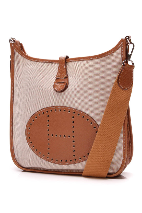 Hermes Evelyne PM Tote Bag Toile Clemence Beige Brown