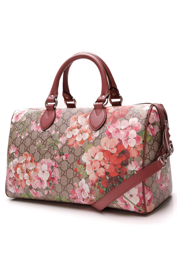 Gucci Medium Blooms Boston Bag Supreme Canvas Pink