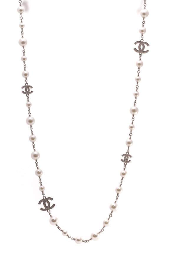 Chanel Pearl CC Long Necklace Silver