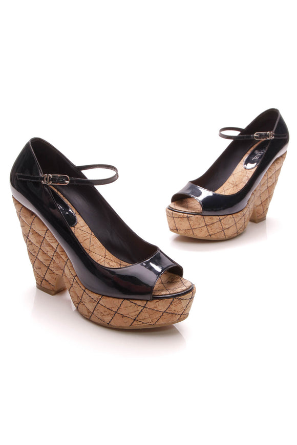 Chanel Cork Quilted Peep-Toe Wedges Navy Size 8