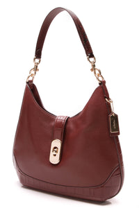 Coach Amber Hobo Bag Wine Leather Burgundy