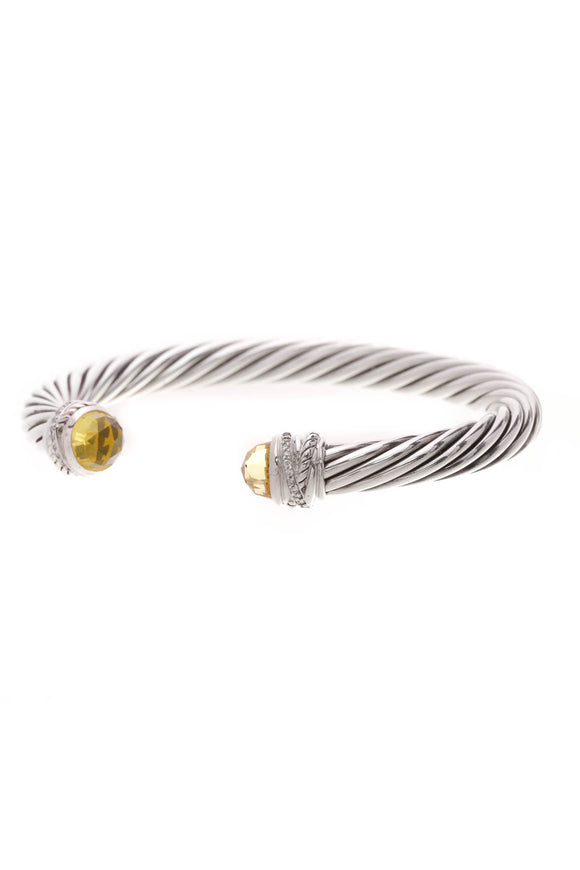 David Yurman Diamond Crossover Cable Bracelet Silver