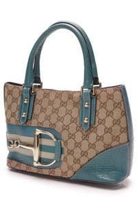 Gucci Hasler Tote Bag Teal Signature Canvas