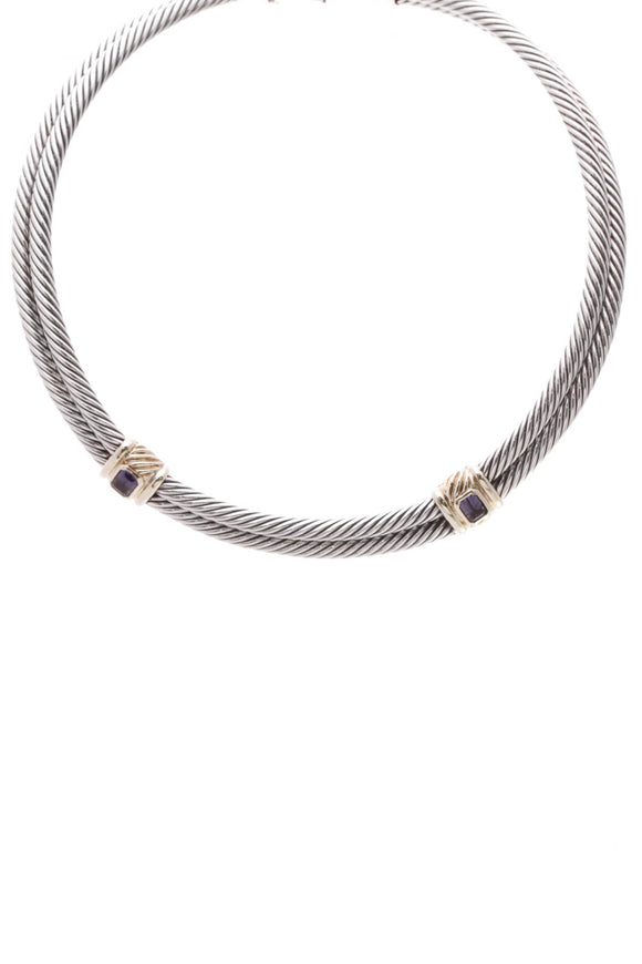 David Yurman Iolite Double Cable Choker Necklace Silver Gold