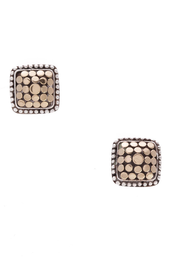 John Hardy Dot Square Stud Earrings Silver Gold