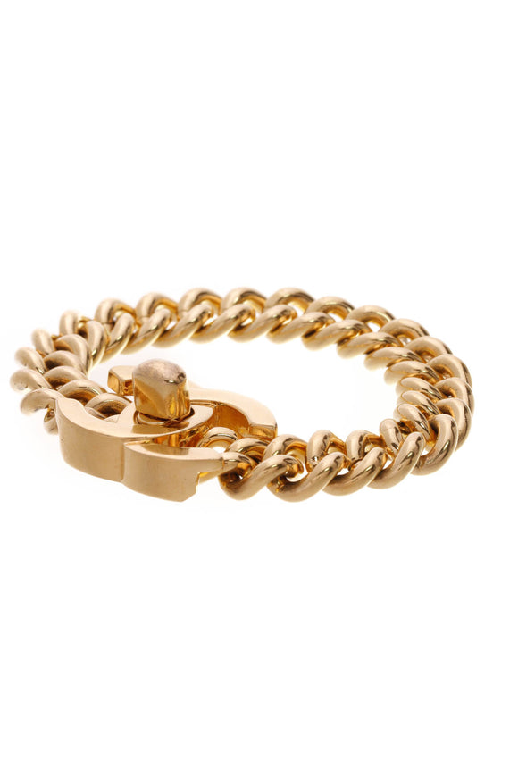 Chanel Vintage CC Turn Lock Curb Chain Bracelet Gold