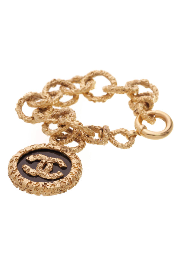 Chanel Vintage CC Chain Bracelet Gold Black