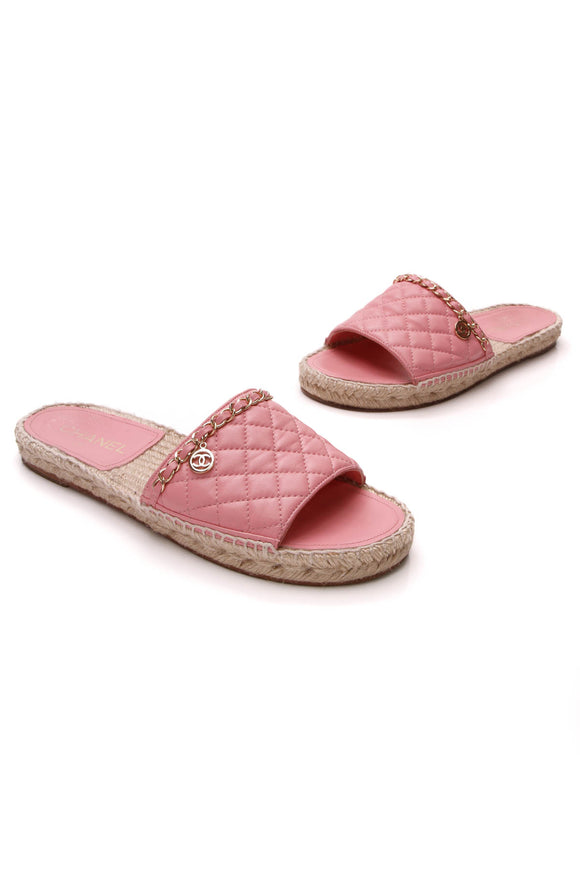 Chanel Quilted Chain Espadrille Slide Sandals Pink Size 39
