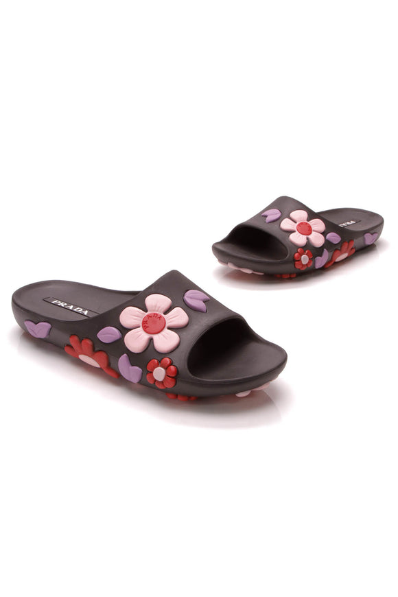 Prada Flower Slide Sandals Black Size 38