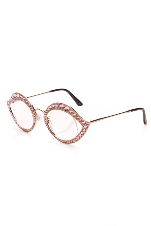 Gucci Crystal Cat Eye Glasses Pink
