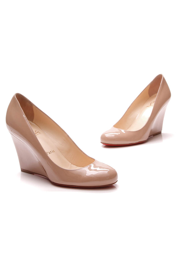 Christian Louboutin Ron Ron Zeppa 85 Wedges Nude Size 36.5