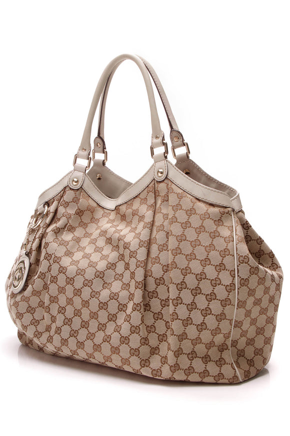 Gucci Large Sukey Tote Bag Signature Canvas Brown Ivory