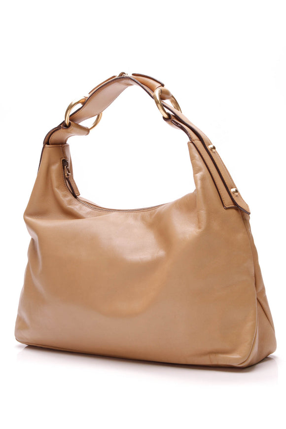 Gucci Vintage Horsebit Hobo Bag Tan