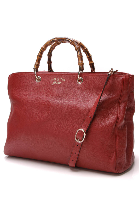 Gucci Large Bamboo Shopper Tote Bag Red