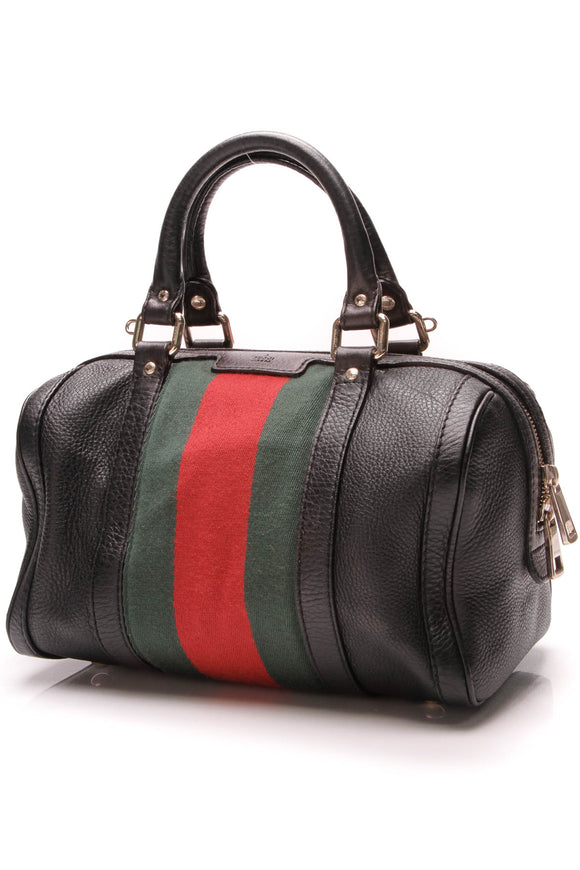 Gucci Vintage Web Original Boston Bag Black
