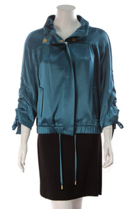 St. John Silky Bomber Jacket Baltic Blue Size Small