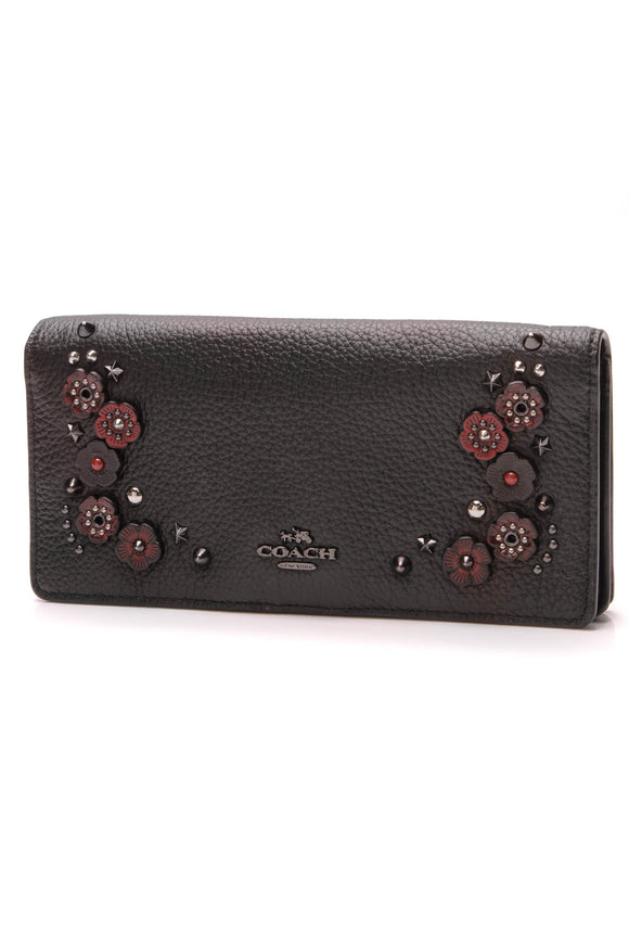 Coach Willow Floral Slim Wallet Black