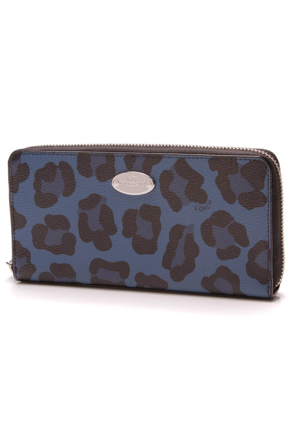 Coach Ocelot Accordion Zipper Wallet Blue