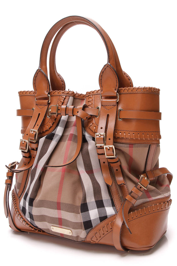 Burberry Prorsum Bridle Whipstitch Bag House Check Canvas Brown
