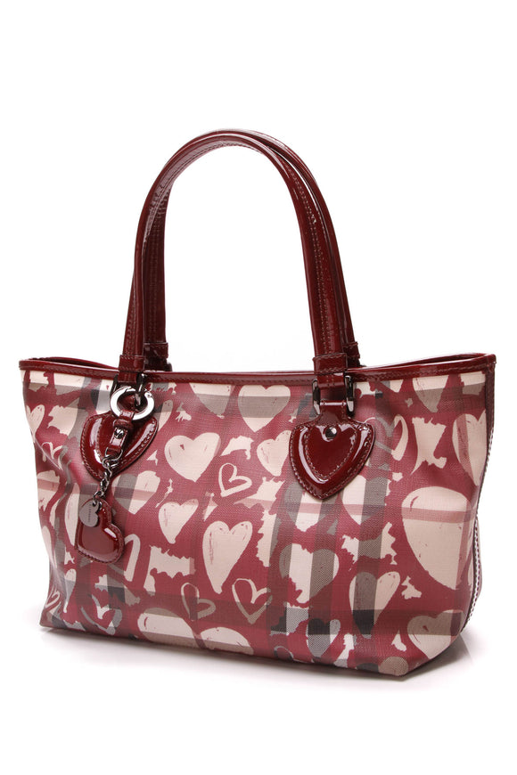 Burberry Nickie Painted Heart Tote Bag Supernova Check Red