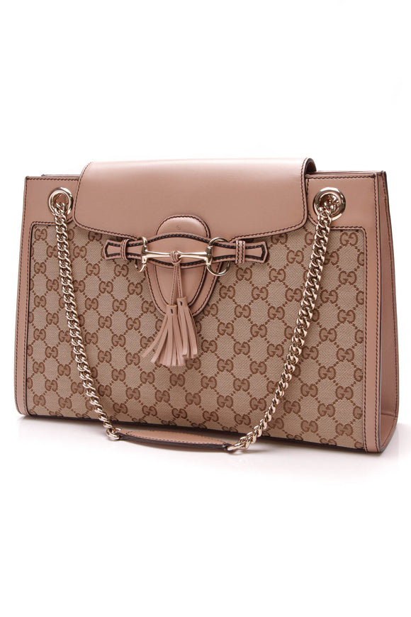 Gucci Large Emily Chain Bag Signature Canvas Beige Pink