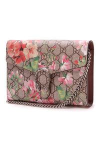 Gucci Blooms Dionysus Wallet on a Chain Bag Supreme Canvas Pink