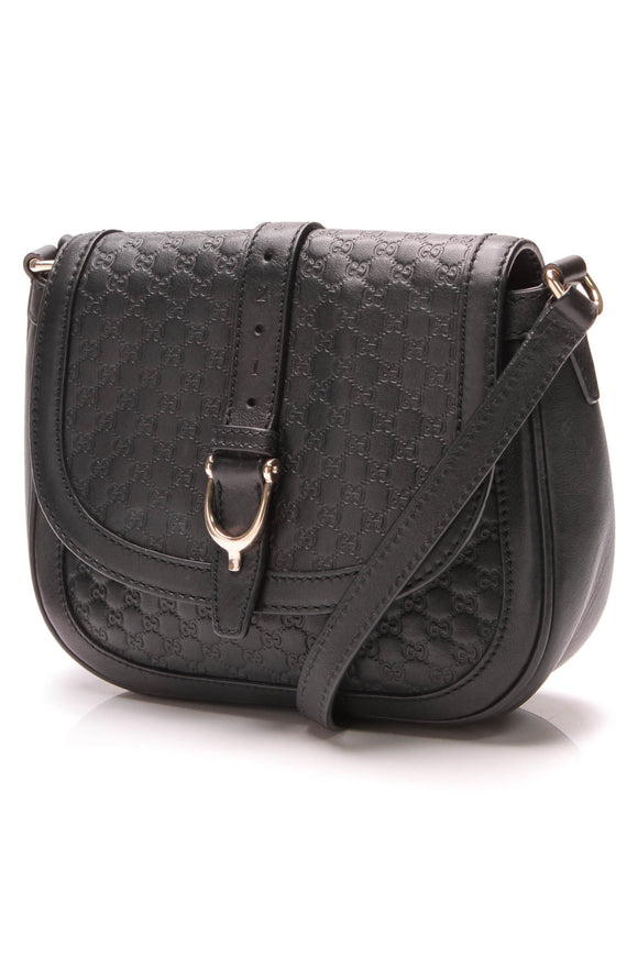 Gucci Nice Flap Crossbody Bag Black Microguccissima