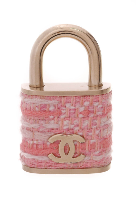 Chanel Tweed CC Oversized Padlock Brooch Gold Pink