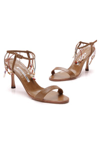 Manolo Blahnik Beaded Ankle Strap Heeled Sandals Brown Size 37