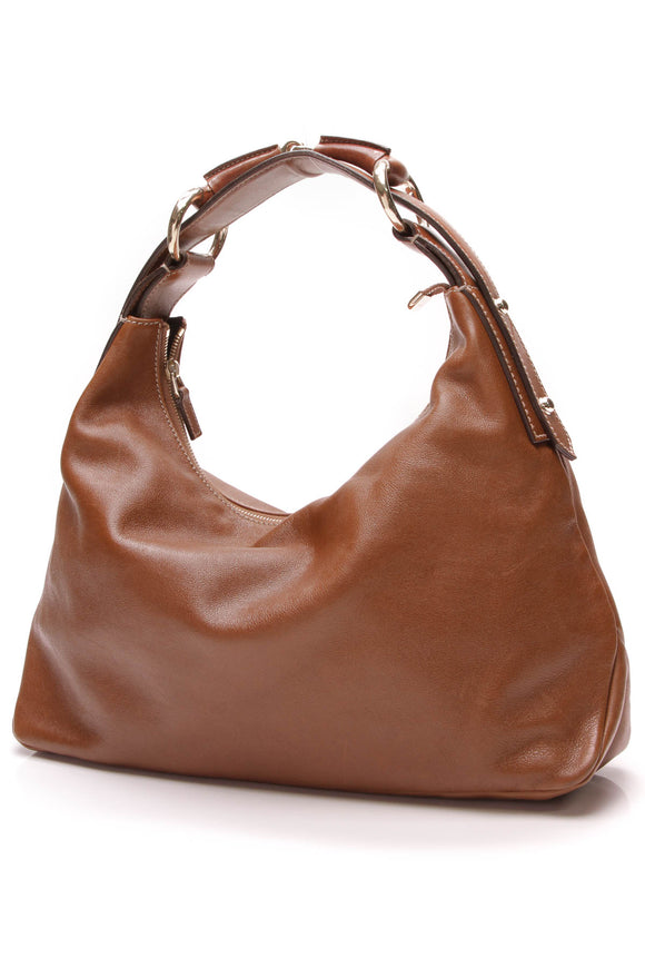Gucci Horsebit Medium Hobo Bag Brown