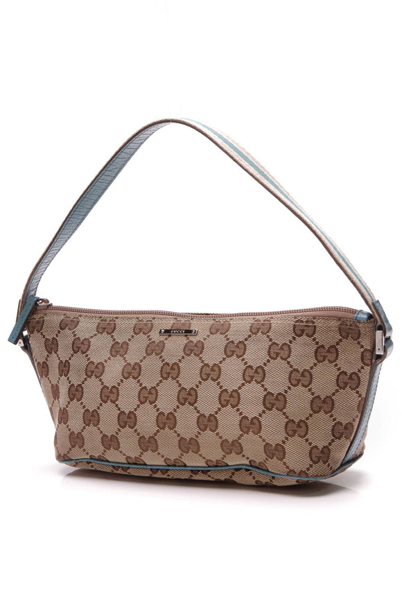Gucci Boat Pochette Bag Signature Canvas Beige Teal