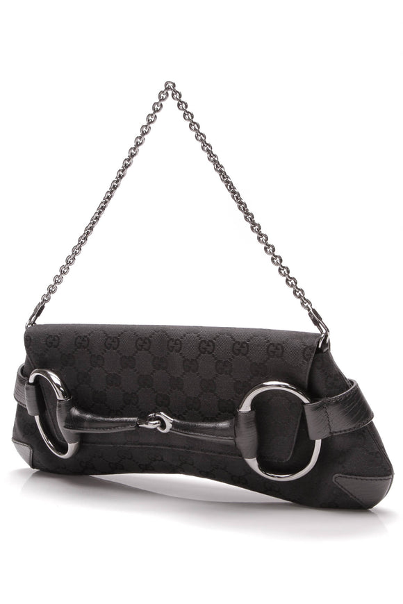 Gucci Horsebit Chain Large Clutch Bag Black Signature Canvas