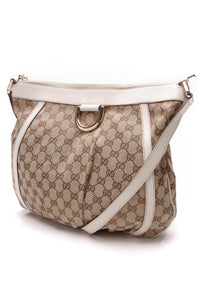 Gucci D Ring Messenger Bag Signature Canvas Beige Ivory