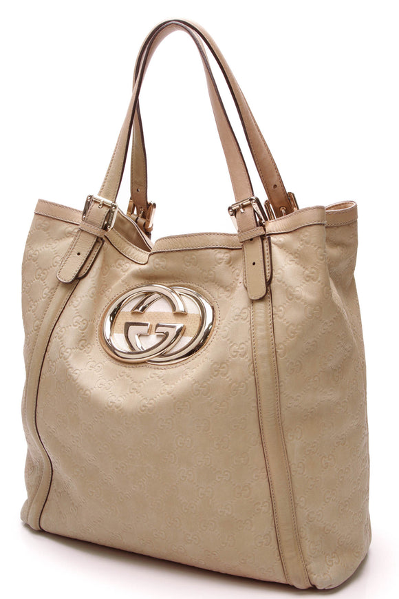 Gucci Britt Medium Tote Bag Beige Guccissima