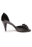 Chanel Quilted Camellia Peep Toe Pumps Black Size 38.5