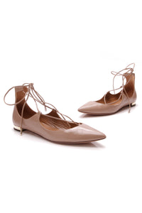 Aquazurra Christy Lace Up Flats Beige Size 38