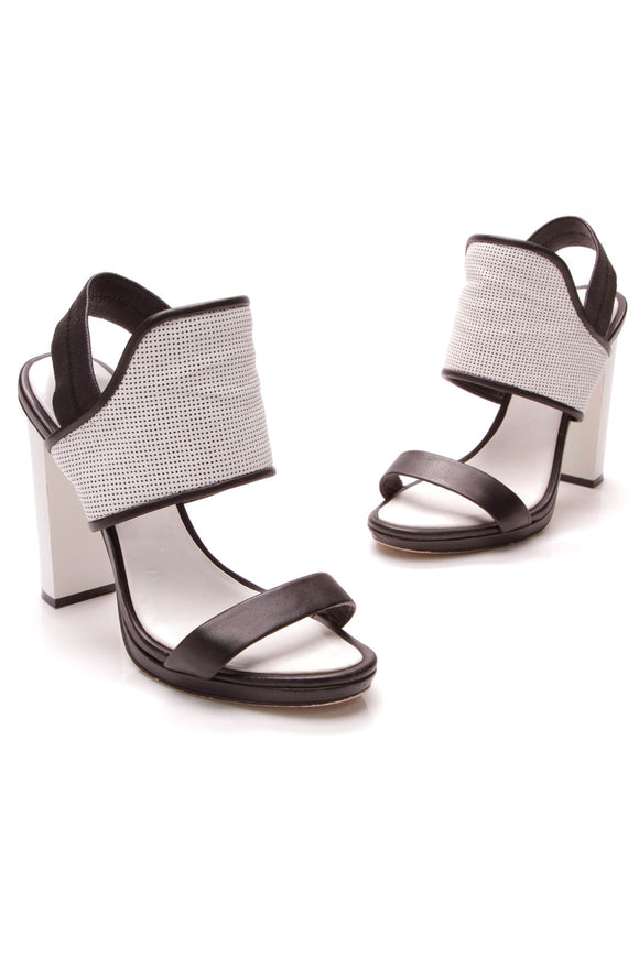 BCBG Jovian Perforated Heeled Sandals Black White Size 8