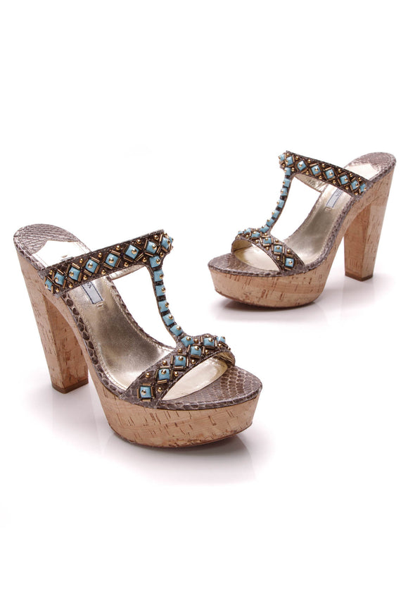 Prada Snakeskin Embellished Platform Sandals Blue Brown Size 38