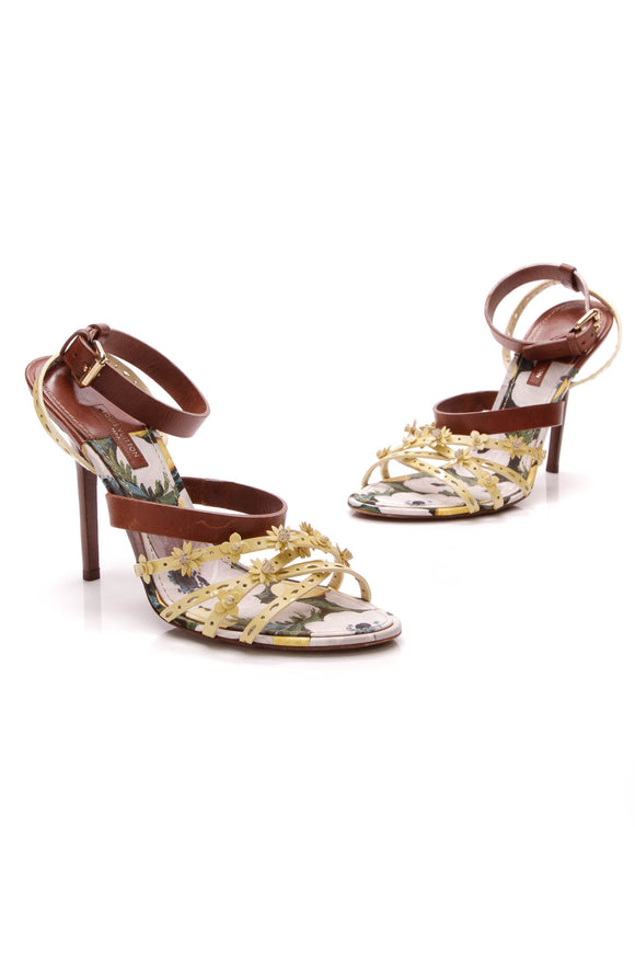 Louis Vuitton Flower Fields Sandals Yellow Brown Size 40
