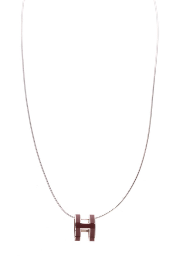 Hermes Pop H Necklace Burgundy Silver