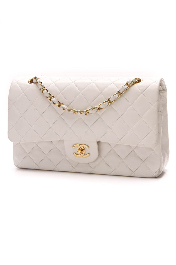 Chanel Vintage Classic Double Flap Bag Medium White Lambskin