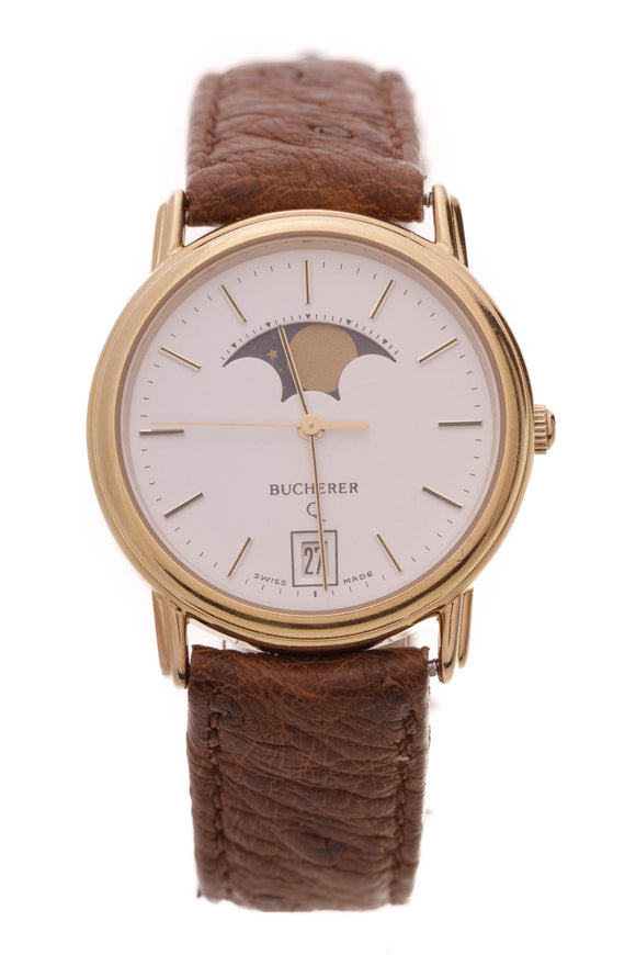 Bucherer Moon Phase Watch Gold Brown