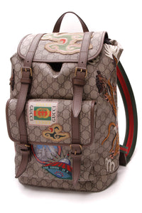Gucci Courrier GG Backpack Supreme Canvas Beige