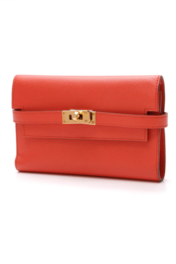 Hermes Kelly Wallet Abricot Epsom Orange