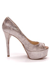 Brian Atwood Bambola Platform Peep Toe Pumps Embossed Leather Size 9.5 Beige Silver