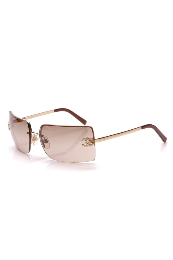 Chanel Rhinestone CC Rimless Sunglasses 4092-B Gold